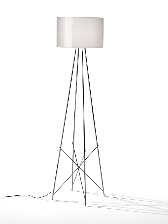Floor lamp providing diffused lighting steel tube structure welded brushed and chrome plated lathe shaped aluminum diffusers painted white on the