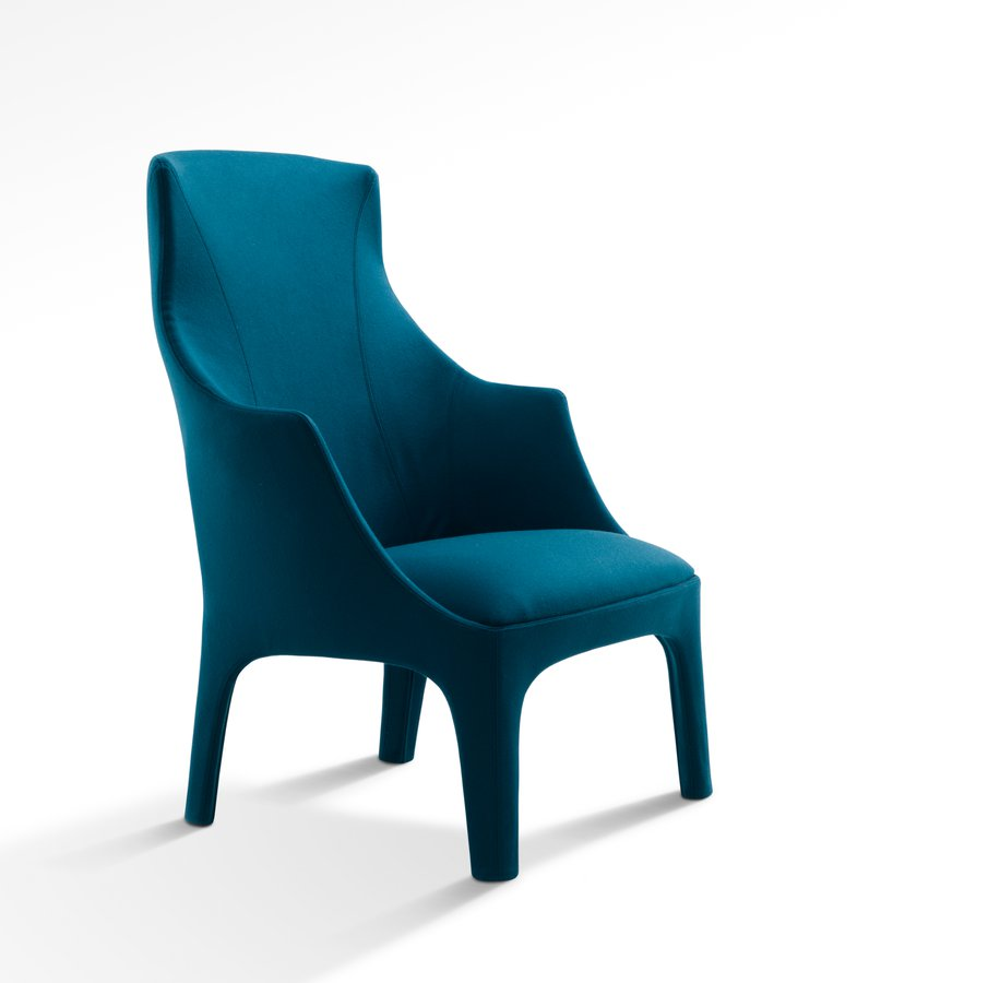 Wing Chair With The Structure In Profiled Steel And The Padding In  Coldfoamed Polyurethane Covered With Fibre. A Special Material Inside The  Backrest Gives ...
