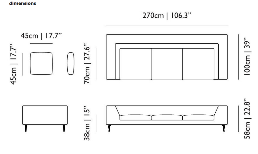 Gallery For Sofa Dimensions