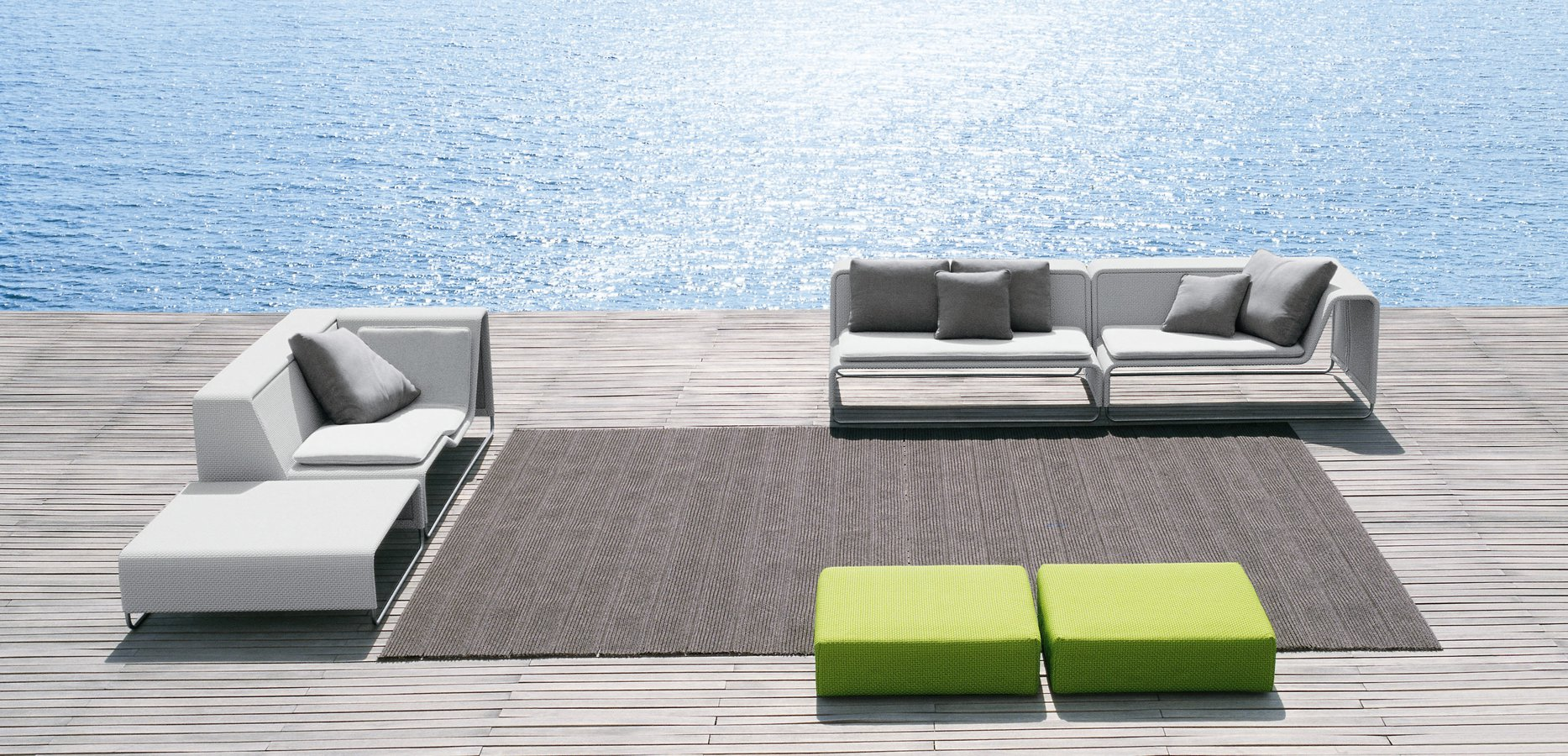 Attraktiv Modular Seating For The Outdoors, Comprised Of Corner, Central,  Chaise Longue And
