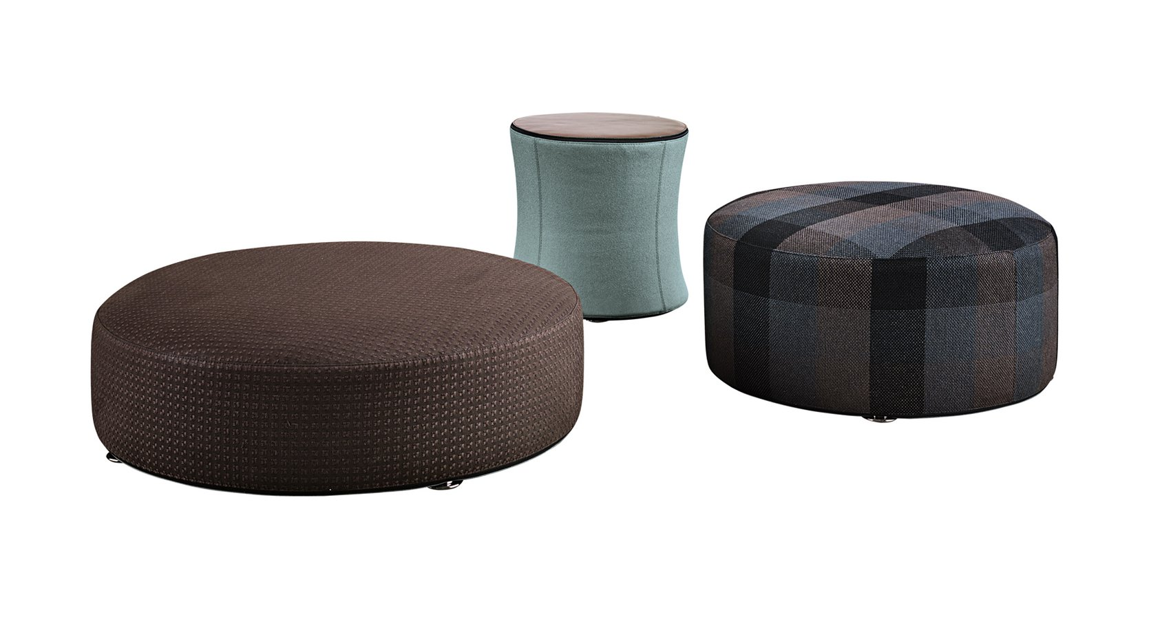 davis drum by minotti —  ecc - the davis family includes several poufs both round and square availablein different sizes the davis 'drum' in the particular hourglass shape with