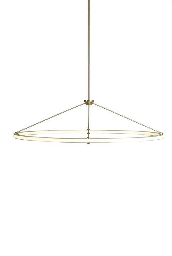 The halo collection which includes a chandelier a pendant and a wall sconce is distinguished