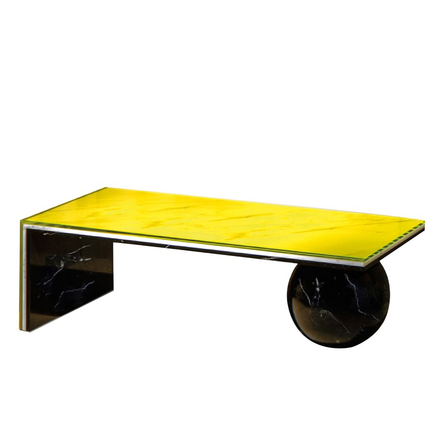 Of White Carrara Marble Black Nero Marquina And Acid Yellow Tinted Glass Are Sandwiched Together To Form This Modern Sculptural Coffee Table