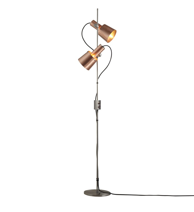 A double headed floor light reflecting the distinctive 1960s inspiration behind the complete chester range exquisite detailing the chester floor light in