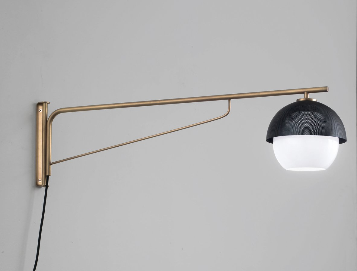 Urban wall lamp turning arm by venicem ecc adjustable wall lamp with difuse light and white tobacco or smoke murano blown glass difuser light or dark burnished natural brass structure and matte aloadofball Images